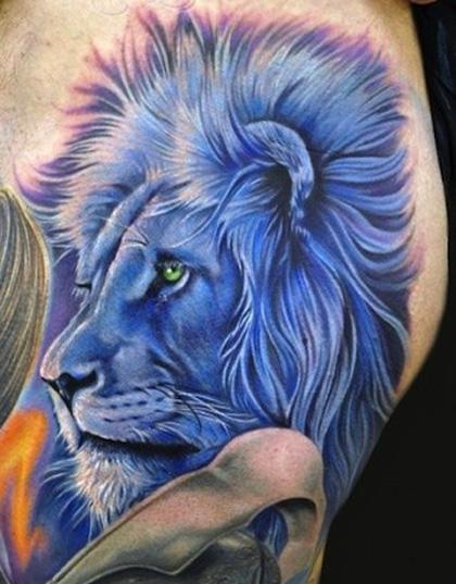 цветное тату - синий лев