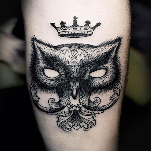 тату - сова с короной
