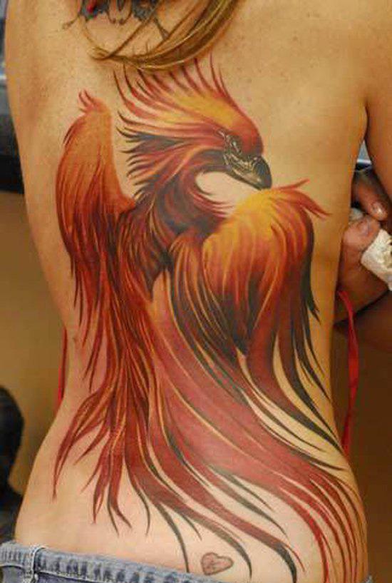 тату - огненный феникс на спине