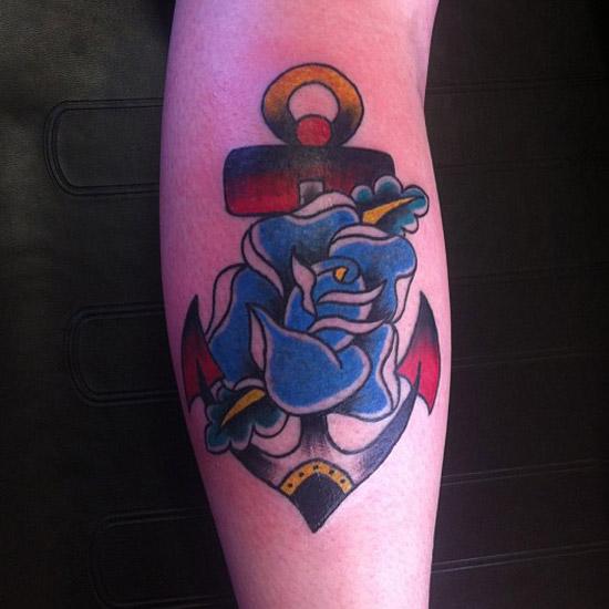 цветная татуировка морского якоря